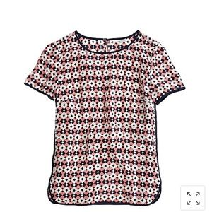 NWT Jcrew tipped silk tee in diamond tile size 2